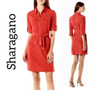 Sharagano Red Utility Shirt Dress Size 4